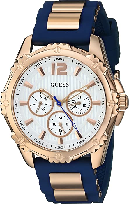 GUESS Womens Stainless Steel Silicone Casual Watch, Color: Rose Gold-Tone/Navy