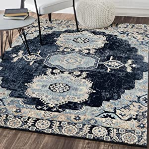 Persian-Rugs 7060 Distressed Navy 8 x 10 Area Rug Carpet Large New