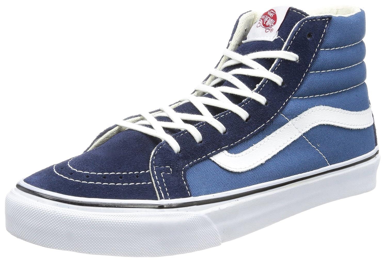 Vans Unisex Sk8-Hi Slim Women's Skate Shoe B00AMLGRD6 8 B(M) US|Navy/ White