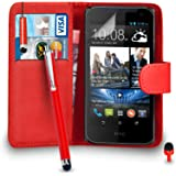 HTC Desire 310 Premium Leather Red Wallet Flip Case Cover Pouch + Mini & Big Touch Stylus Pen + RED 2 IN 1 Dust Stopper + Screen Protector & Polishing Cloth SVL3 BY SHUKAN®, (WALLET RED)