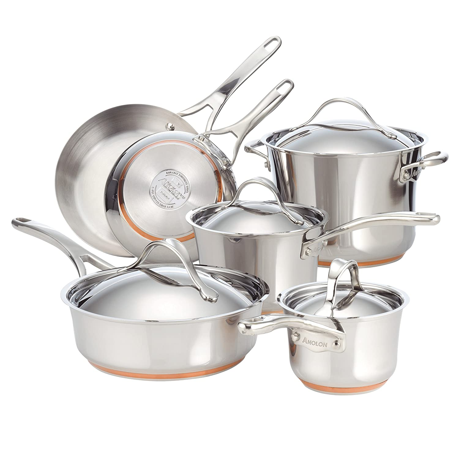 Anolon Nouvelle 11-Piece Copper Stainless Steel Cookware Set