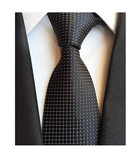 1a5cbb010011 Men's Solid Black Silk Plain Cravat Ties Jacquard Woven Neckties Best Xmas  Gift at Amazon Men's Clothing store: