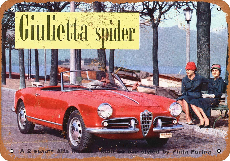 1959 Alfa Romeo Giulietta Spider Vintage Vintage Affiche de Plaque de Signe de Mur de bidon en m/étal personnalis/ée Signe de Rue de Famille 12 x 8 po