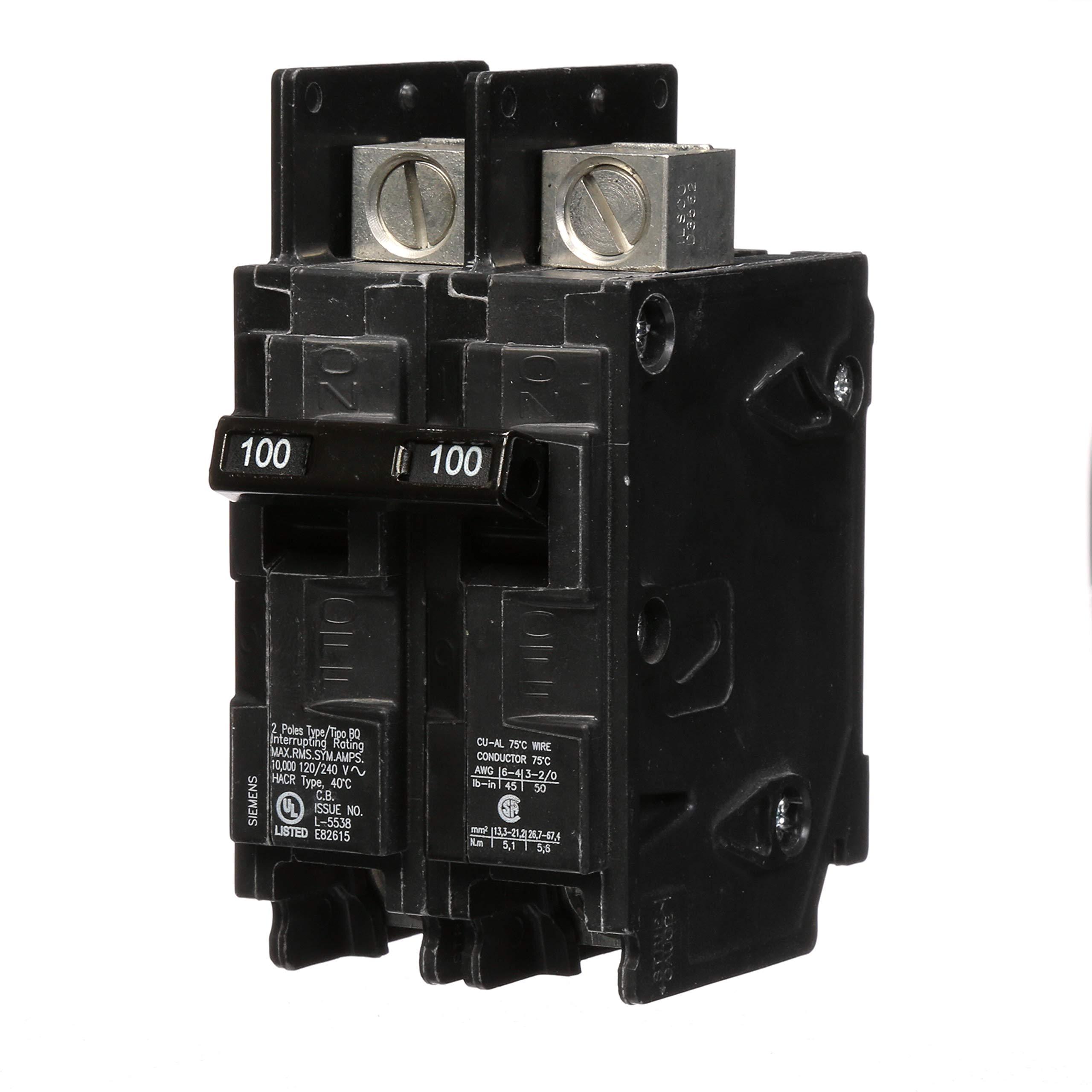 Siemens BQ2B100L 100-Amp Double Pole 120/240-Volt 10KAIC Lug In/Lug Out Breaker by SIEMENS