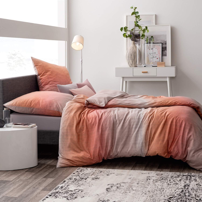 Estella Mako Interlock Jersey Bettwäsche 2 teilig Bettbezug 135 x 200 cm Kopfkissenbezug 80 x 80 cm Nicolas 6562001-965 Magma