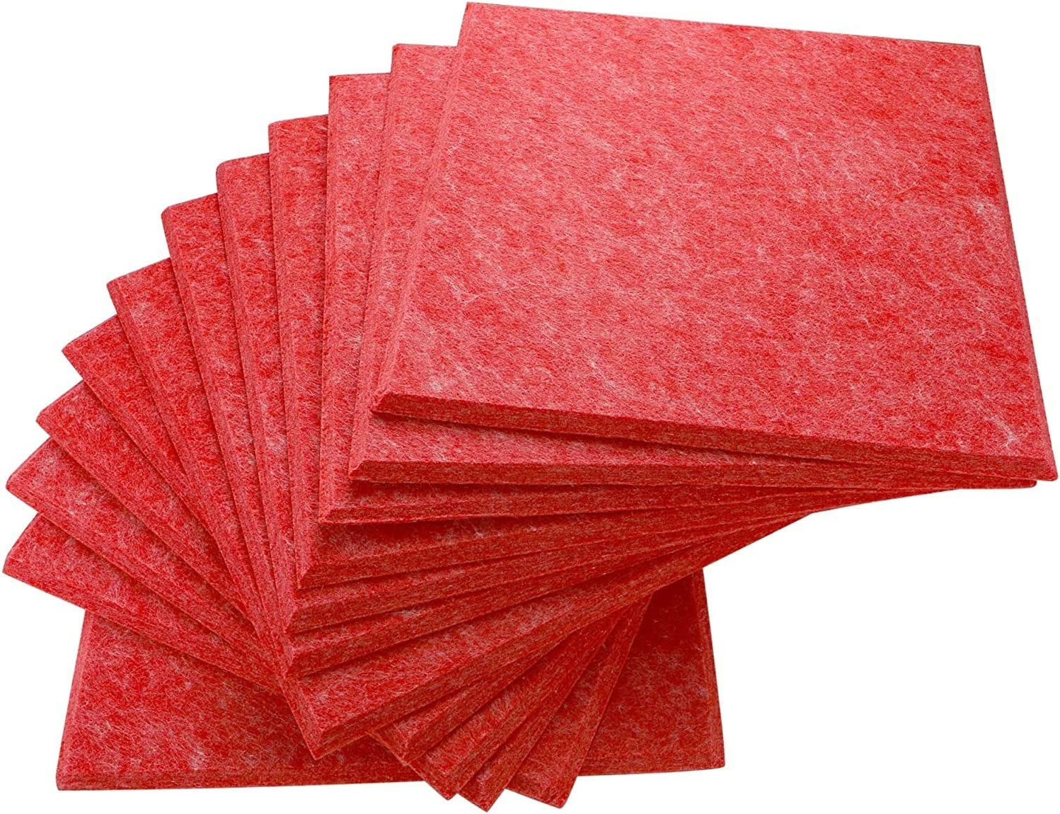 12 Pack Set Acoustic Absorption Panel, 12 X 12 X 0.4 Inches Red Acoustic Soundproofing Insulation Panel Bevled Edge Tiles, Acoustic Treatment Used in Home & Offices
