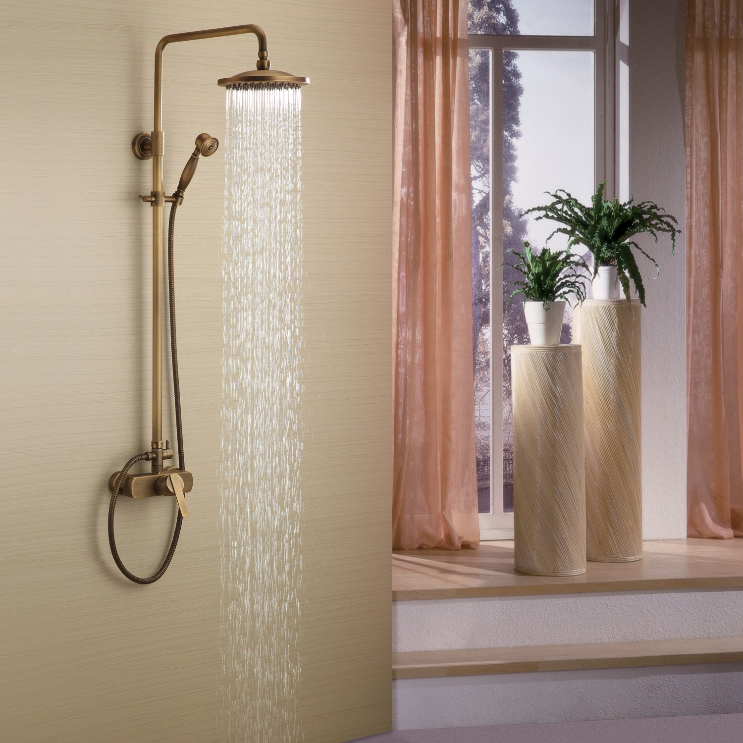 LightInTheBox Sprinkle Antique Brass Tub Shower Faucet with 8 inch ...