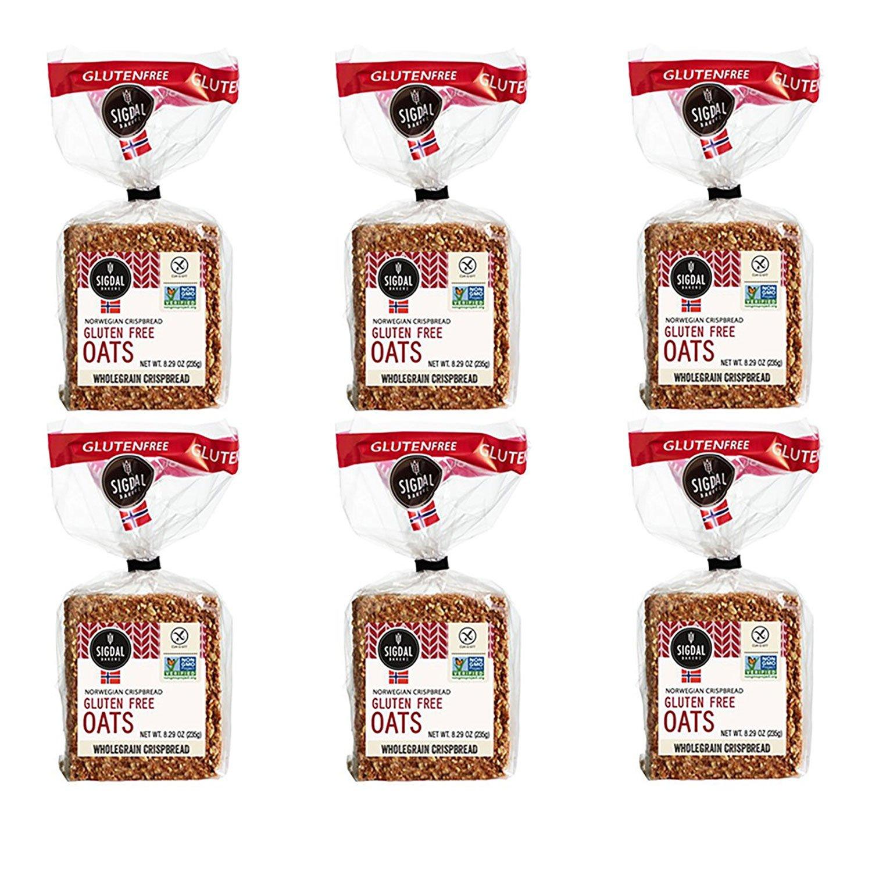 Sigdal Bakeri Gluten Free Oats, Wholegrain Crispbread, 8.29oz (Pack of 6) by Sigdal