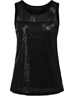 3979427632ecbf Concep Women s Sparkly Sequin Tank Top Shimmer Embellished Sleeveless Party  Vest Shirt S-XXL