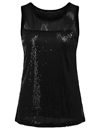 f0ea42fbd9d2f3 Concep Women s Shiny Sequin Tank Top Embellished Sparkly Sleeveless Evening  Party Shirt (Black