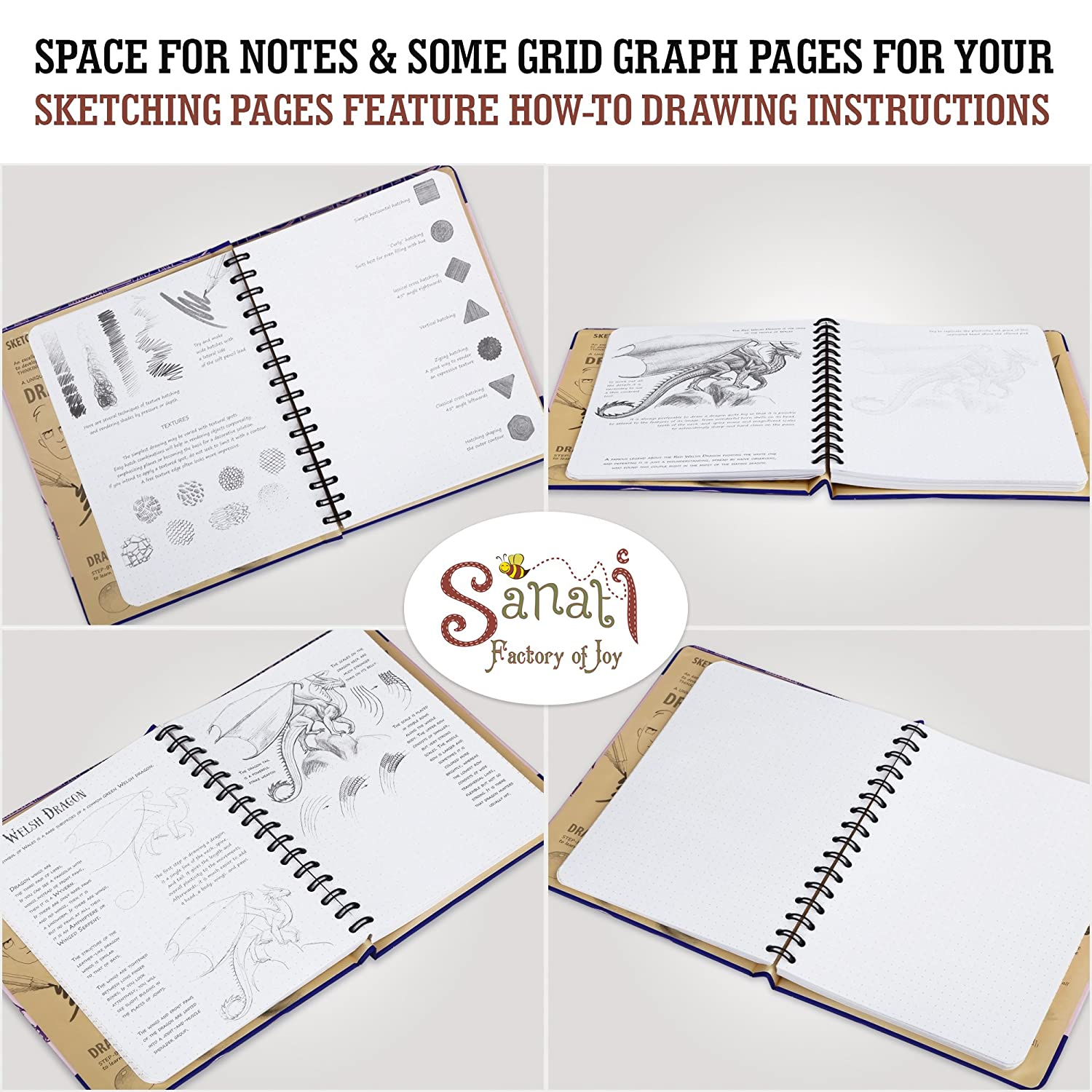 Sketch Book 70 Sheets How To Draw Fantastic Creatures Drawing Book 140 Pages 8.3x 5.8 Small Spiral Bound Sketchpad with Drawing Paper