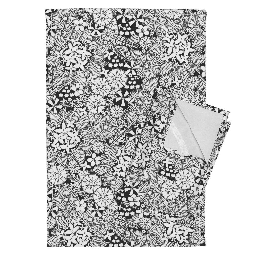 Flower Floral Black and White Chic Nature Wildflower Leaves Tea Towels Wild Wallflowers by Robyriker Set of 2 Linen Cotton Tea Towels