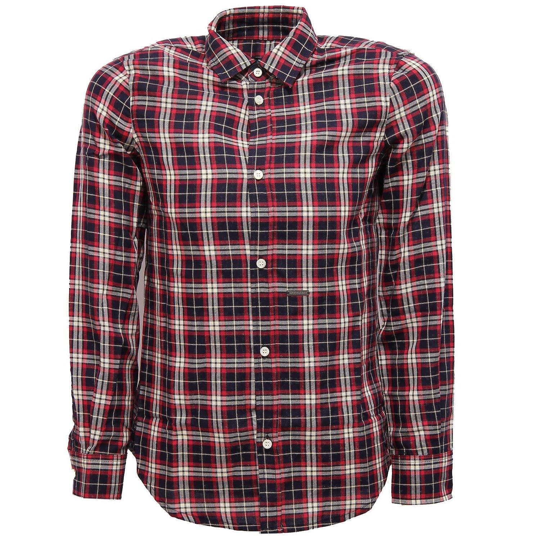 rouge bleu Bianco 14 YEARS Dsquarouge2 7543Y Camicia Bimbo Boy Cotton rouge bleu blanc Shirt manche longue