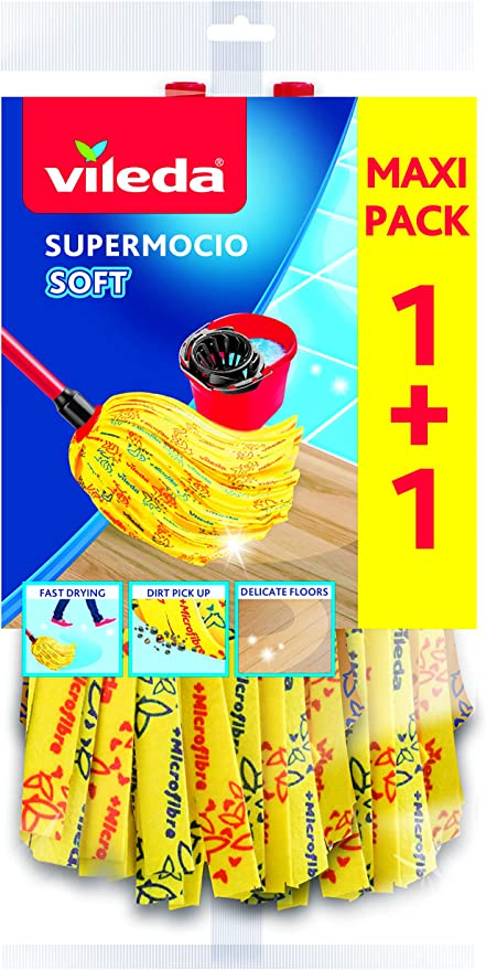 Vileda SuperMocio Soft Wischmop Ersatz Doppelpack 4003790110993