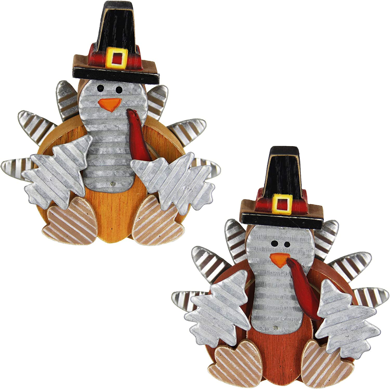 Zcaukya Thanksgiving Turkey Decoration, Wooden Indoor Standing Tabletop Turkey Decor for Home Office Bedroom Kitchen Thanksgiving Harvest Day Decorations, Set of 2