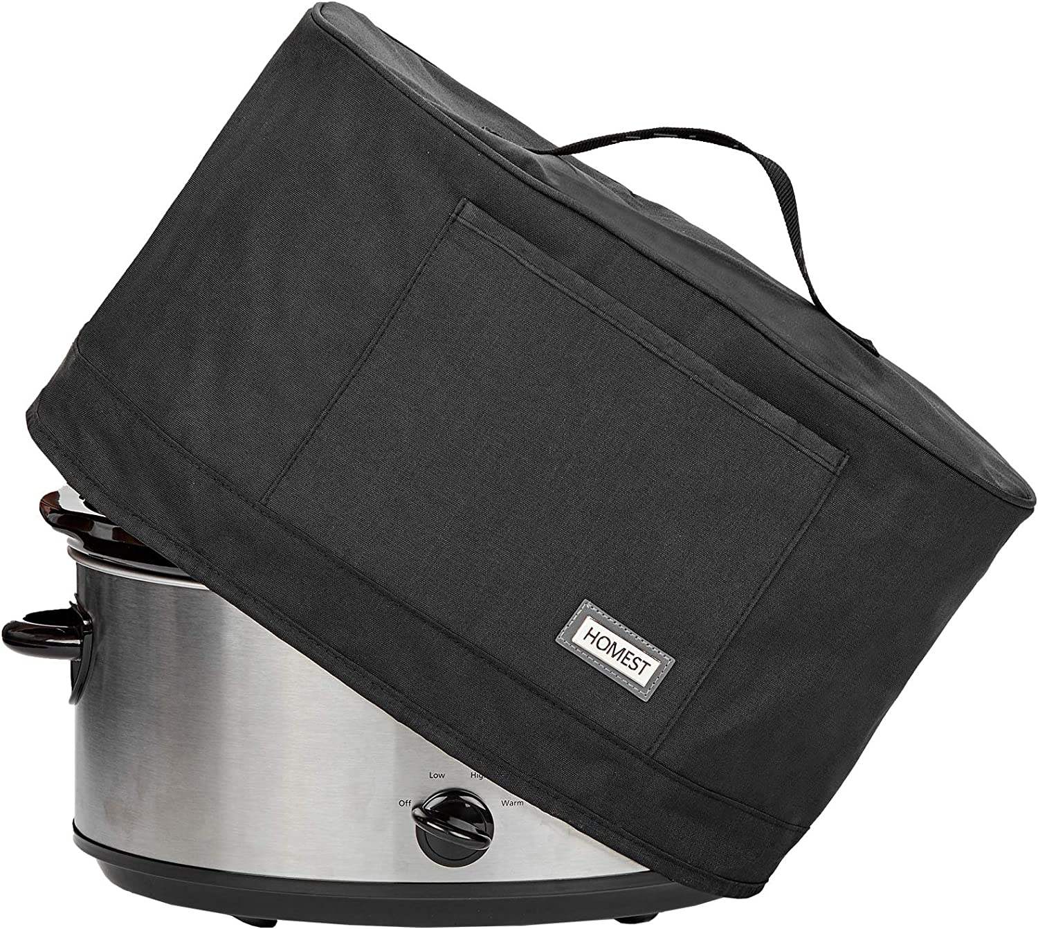 HOMEST Slow Cooker Anti Oil Dust Cover Compatible with Crock Pot 6, 7, 8 Quart, These Cover Have Front Pocket for Recipe and Spoon, Grey