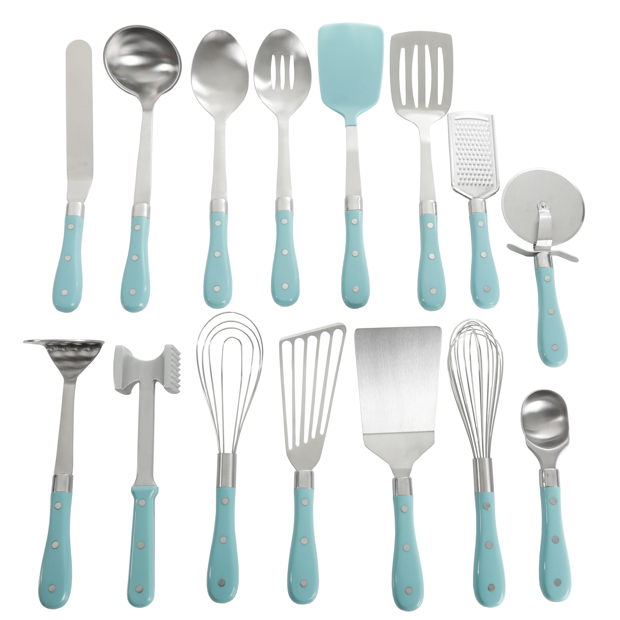 Frontier Collection 15-Piece All In One Tool And Gadget Set In Turquoise, Made of Stainless Steel, Nylon and Riveted ABS Handles, Dishwasher Safe by The Pioneer Woman*