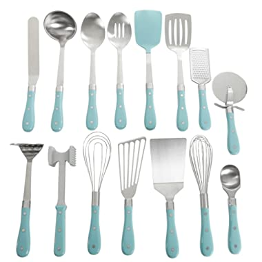Frontier Collection 15-Piece All In One Tool And Gadget Set In Turquoise, Made of Stainless Steel, Nylon and Riveted ABS Handles, Dishwasher Safe