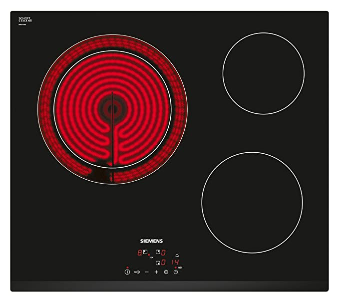 Siemens ET631BK17E iQ300 - Placa de cocina vitrocerámica, ancho 60 cm, 3 áreas de cocción con zona gigante, 5700 W, bisel delantero, color negro