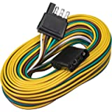 4 Pin Flat Trailer Wiring Harness Kit [Wishbone-Style] [SAE J1128 Rated] [25' Male & 4' Female] [18 AWG Color Coded…