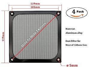 120mm Computer Fan Filter Grills with Screws, Ultra Fine Aluminum Mesh, Black Color - 4 Pack (Color: 120mm-black, Tamaño: 120mm)