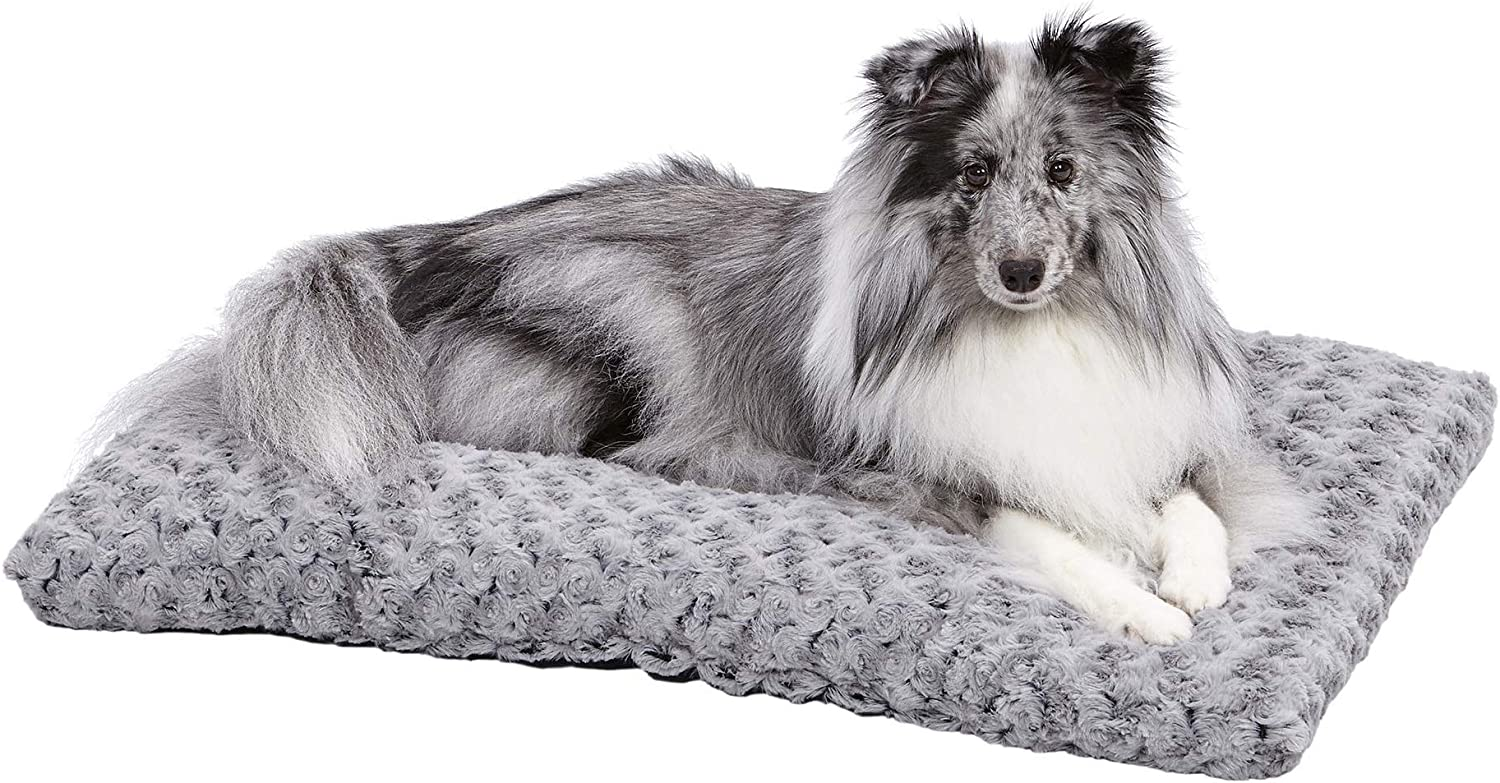Plush Dog Bed | Ombre Swirl Dog Bed & Cat Bed | Gray 29L x 21W x 2H Inches for Medium Dog Breeds : Pet Bed Mats : Pet Supplies