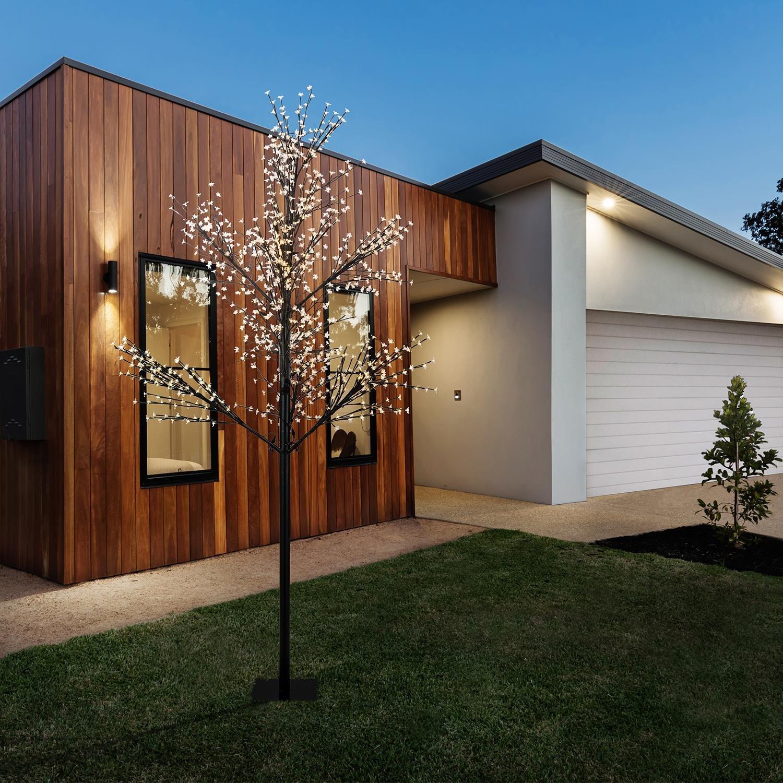 1,8 m 336 LED Blumfeldt Hanami CW 180 bajo consumo de energ/ía /árbol de luces cable de 10 m ramas flexibles iluminaci/ón exterior blanco frio negro decoraci/ón navide/ña