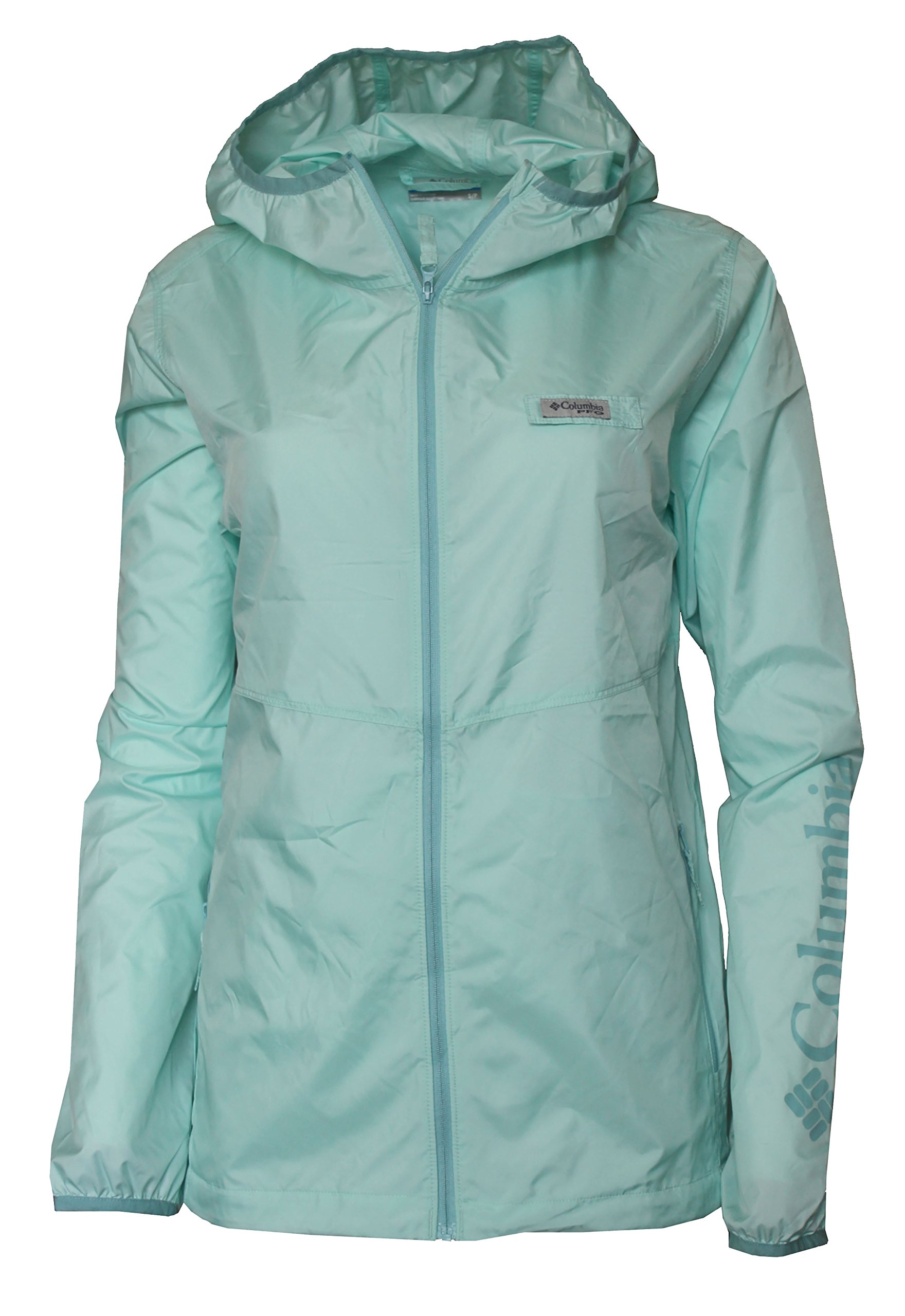 Columbia Women's PFG Morning View Windbreaker Full Zip Shell Hooded Jacket (Blue Glass, XL)
