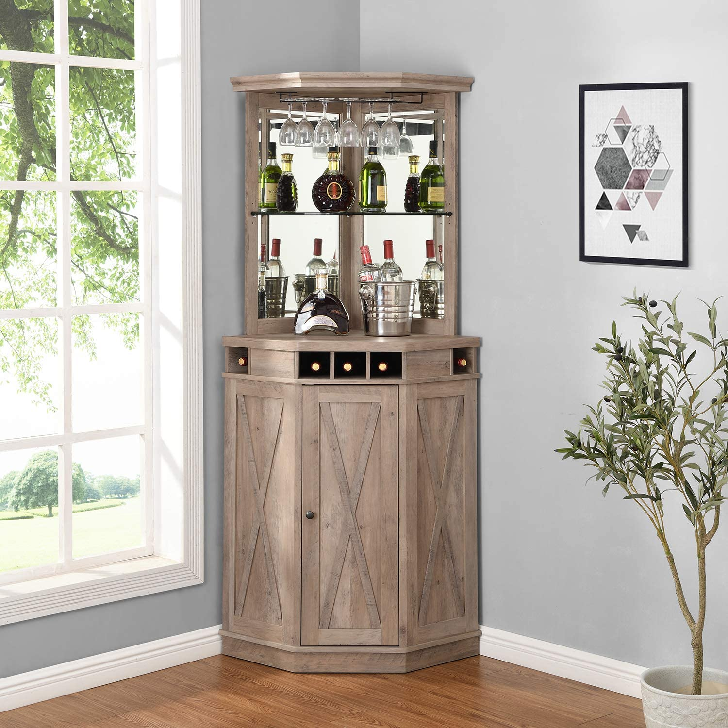 Corner Bar Unit with Built-in Wine Rack and Lower Cabinet (Stone Grey)