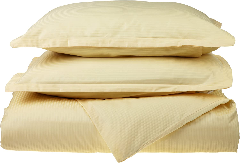 Melange Home 400 Thin Dobby Stripe Duvet Set, Sunlight, King