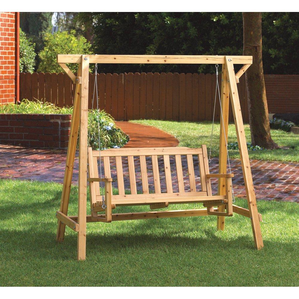 Amazon.com : Weatherproof Wood Home Patio Garden Decor Bench Swing : Porch  Swings : Garden U0026 Outdoor