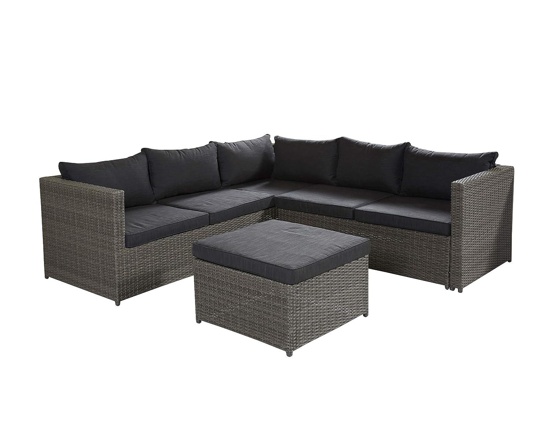 Wholesaler GmbH Barcelona Lounge-Set Sitzgruppe Grau Polyrattan mit Hocker Gartenmöbel Set