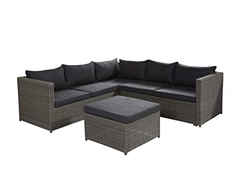 Bekannt POLY RATTAN Sitzgruppe Sofa Lounge Set grau Gartenmöbel Terrassen VF19