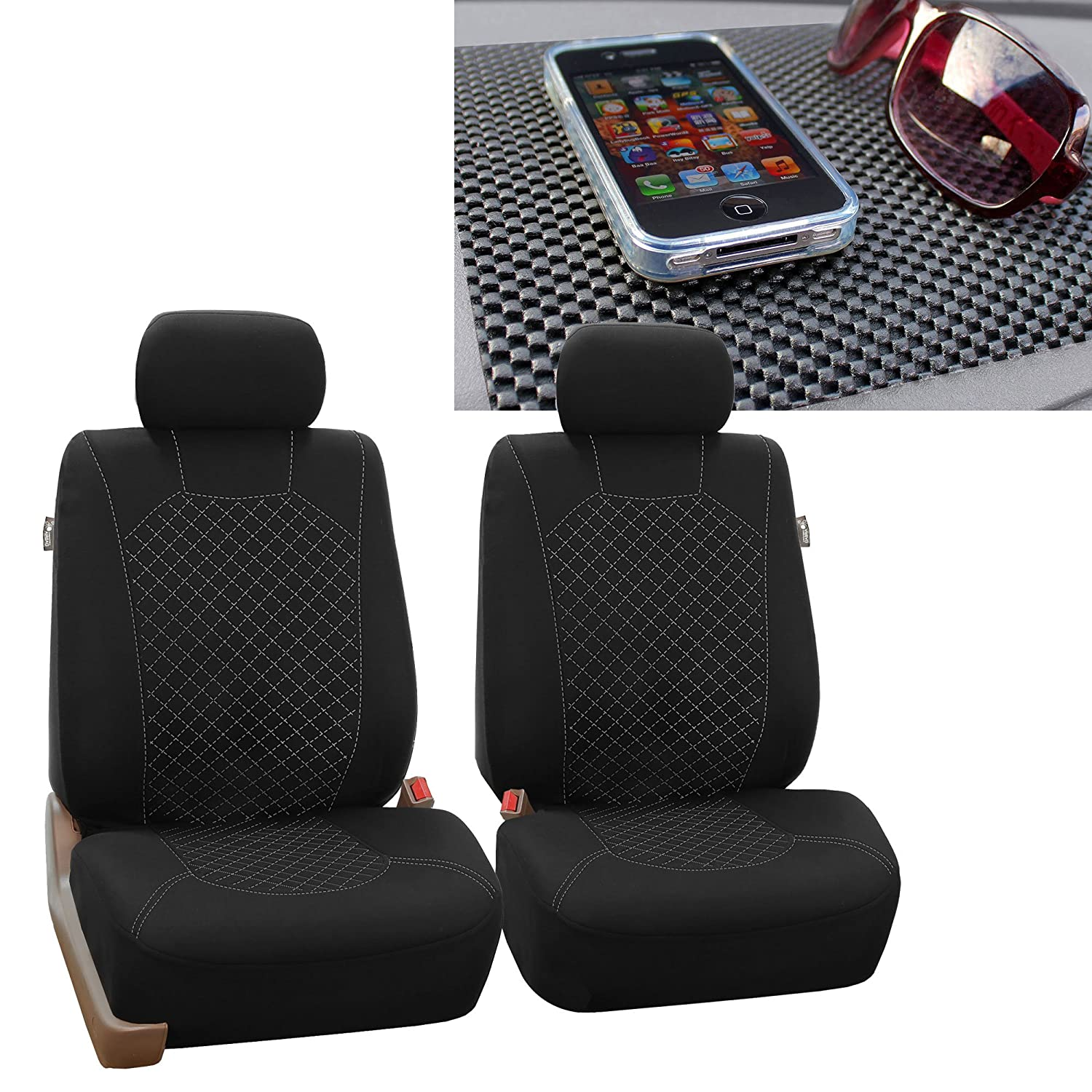 Red//Black FH1002 Non-Slip Dash Pad- Fit Most Car SUV Truck or Van FH Group FH-FB066102 Ornate Diamond Stitching Car Seat Covers