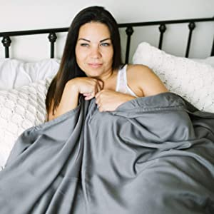 King Size Weighted Blanket Cover - Grey - 300 Thread Count Soft Cotton Duvet Cover - Fits King Size Blanket 88x104 (This item is for the cover only - does not include a weighted blanket)