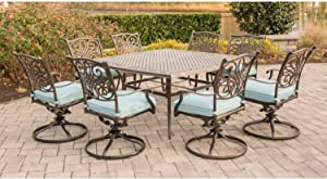 """Hanover TRAD9PCSWSQ8-BLU 9 Piece Traditions Square Dining Set with 8 Swivel Chairs and Large 60"""" x 60"""" Table Outdoor Furniture, Blue"""