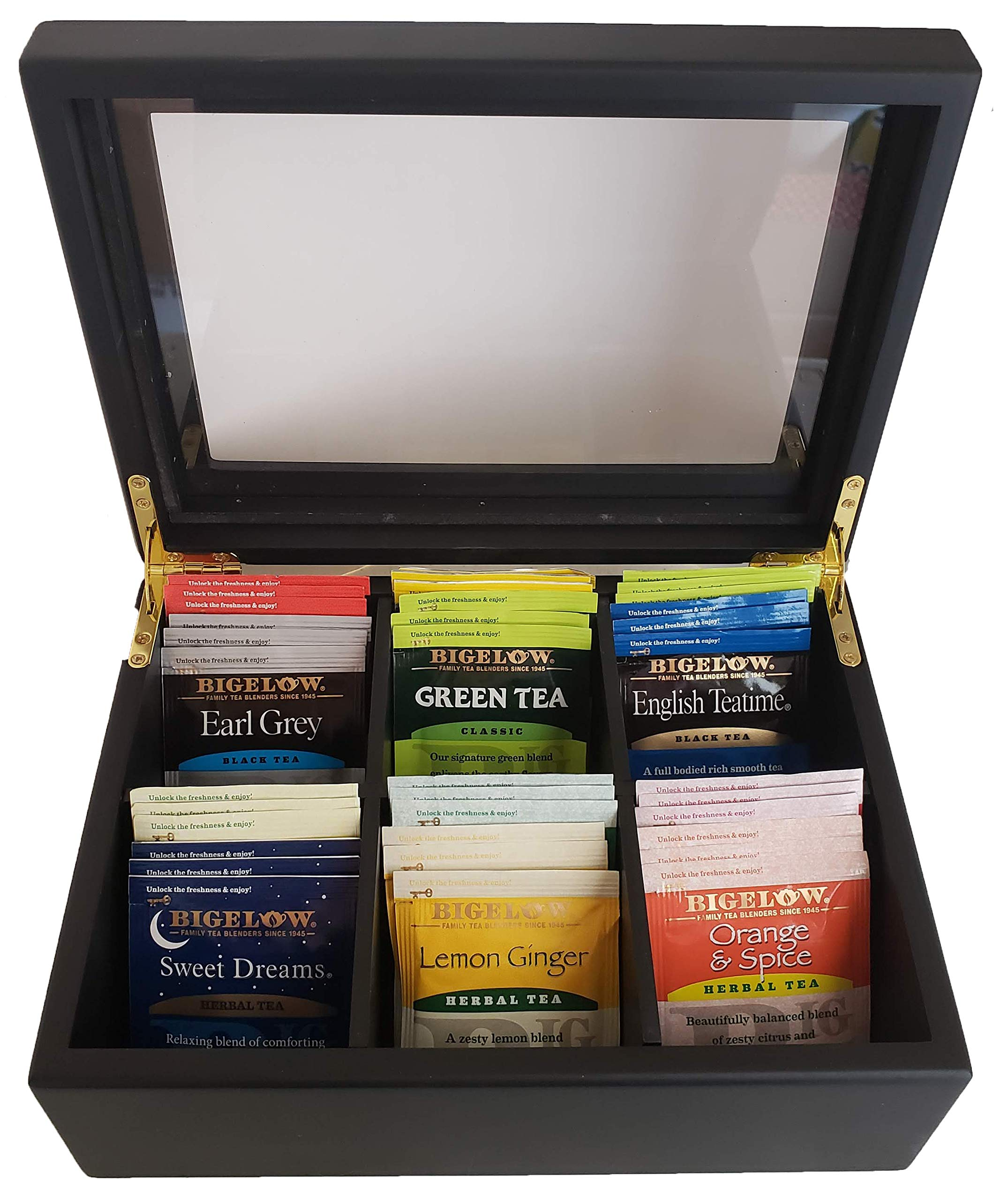 Wooden Tea Box Organizer Gift Set - Wood Tea Box with Bigelow Assorted Tea Bags Bigelow Variety Pack Tea and Bigelow Herbal Tea Variety Pack Tea 12 Different Flavors 36 Tea Bags by Jay-Bee's
