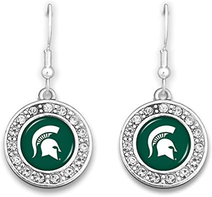 FTH Michigan State Spartans Logo Silver Tone Tear Drop Earrings with Rhinestones