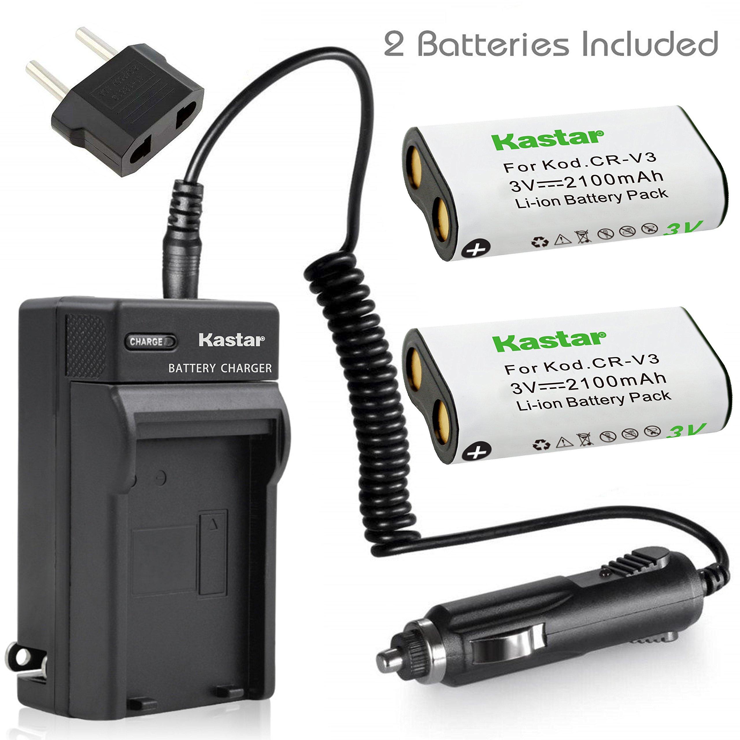 2 Lithium Ion Battery&Charger for Kodak CR V3 CRV3