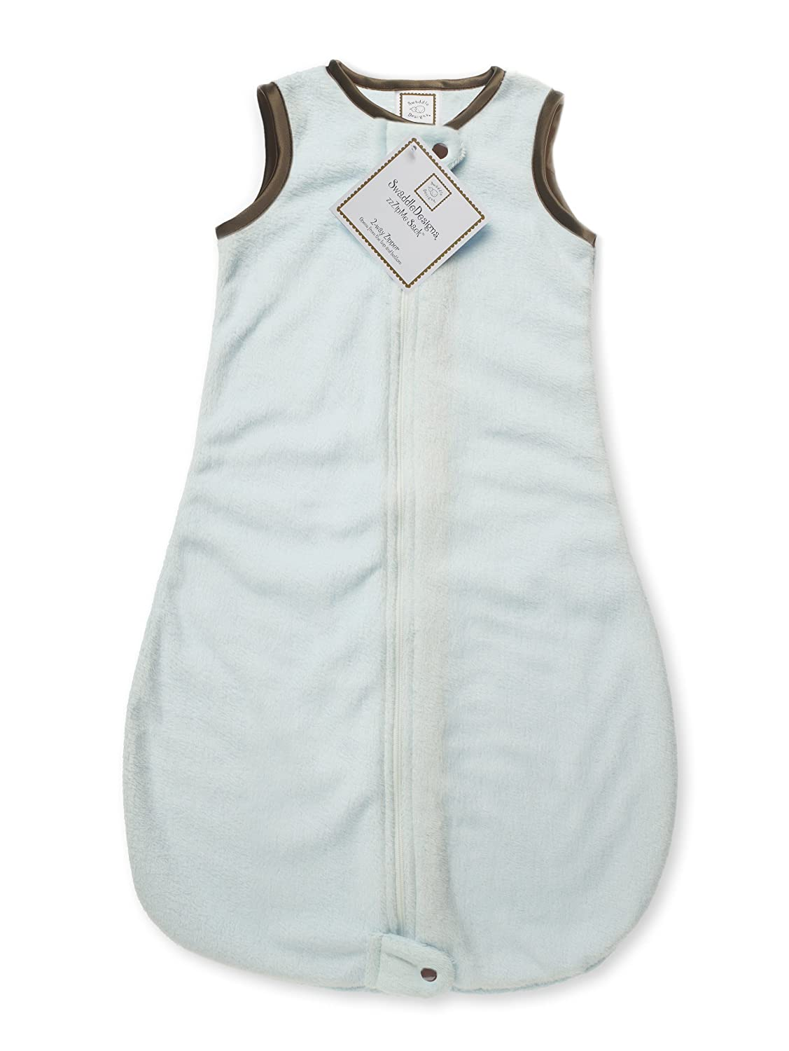 SwaddleDesigns Baby Velvet Sleeping Sack with 2-Way Zipper, Pastel Blue with Mocha Trim, 3-6MO SD-088PB-3MO