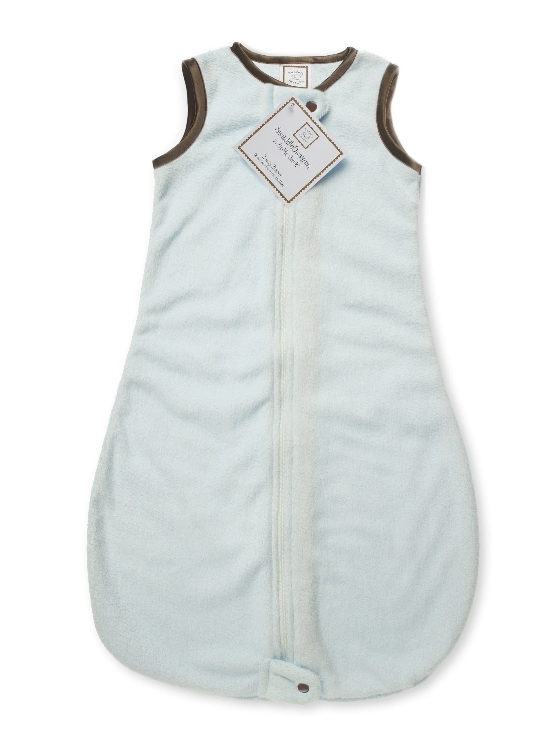 SwaddleDesigns Baby Velvet Sleeping Sack with 2-Way Zipper, Pastel Blue with Mocha Trim, 0-6MO