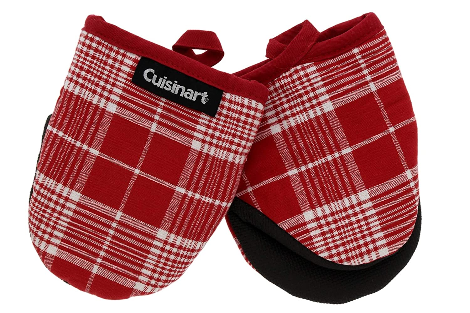 Cuisinart Neoprene Mini Oven Mitts, 2pk - Heat Resistant Oven Gloves Protect Hands and Surfaces with Non-Slip Grip and Hanging Loop-Ideal Set for Handling Hot Cookware, Bakeware- Glen Plaid, Salsa Red
