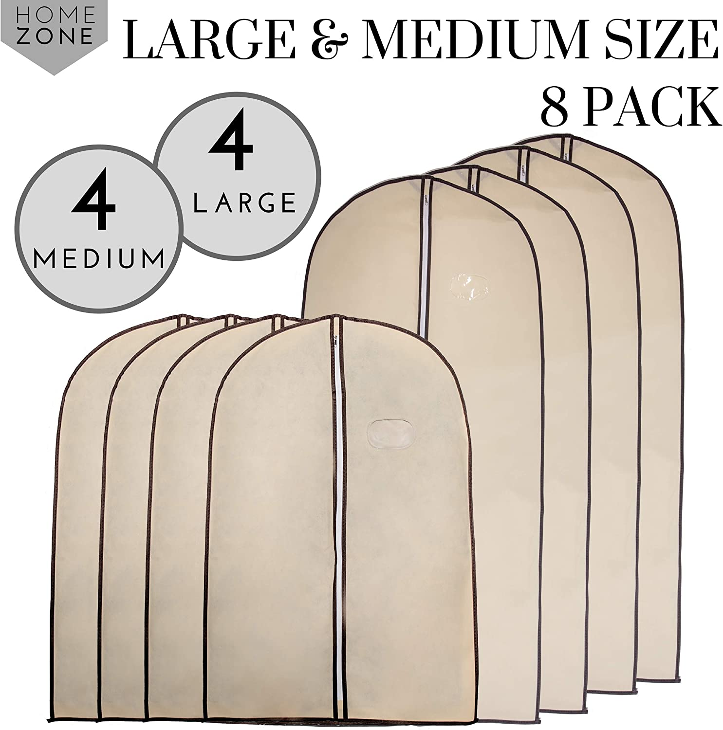 90cms 60cms * Home Zone Medium Pack de 4 transpirable bolsa de ropa ropa Covers Coffee /& Cream Finish