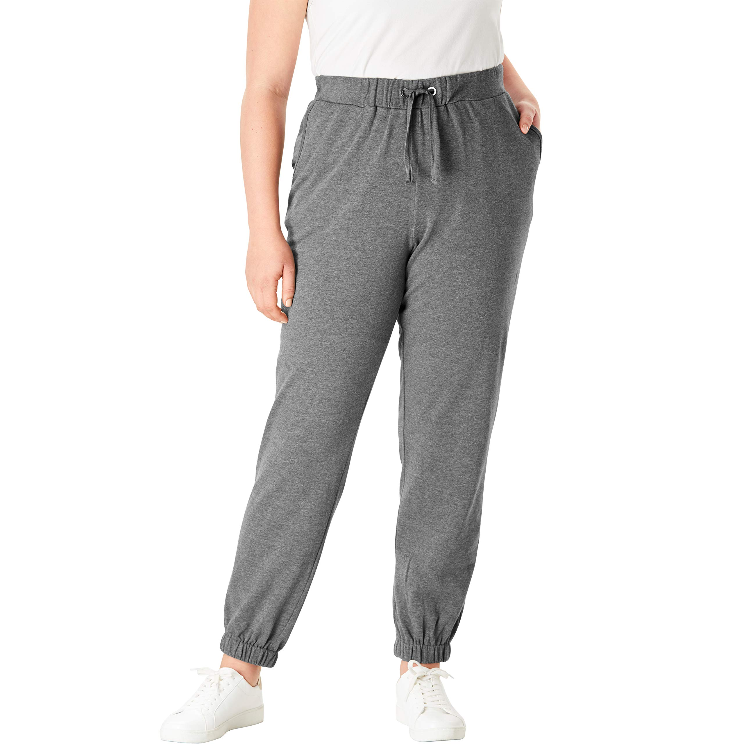 Roamans Women's Plus Size French Terry Jogger - Medium Heather Grey, 12 by Roamans