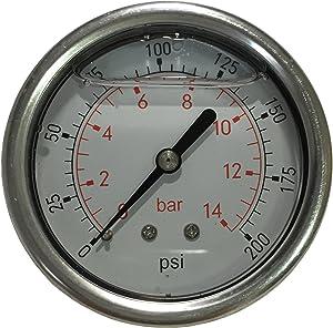 "PneumaticPlus LFSB25-200 Liquid Filled Pressure Gauge WOG- 1/4"" NPT Back Mount - 2-1/2"" Dial - 0 to 200 PSI"