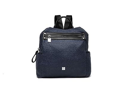 Mochila mujer casual azul oscuro efecto piel rugosa, mochilas de vestir vintage y de moda