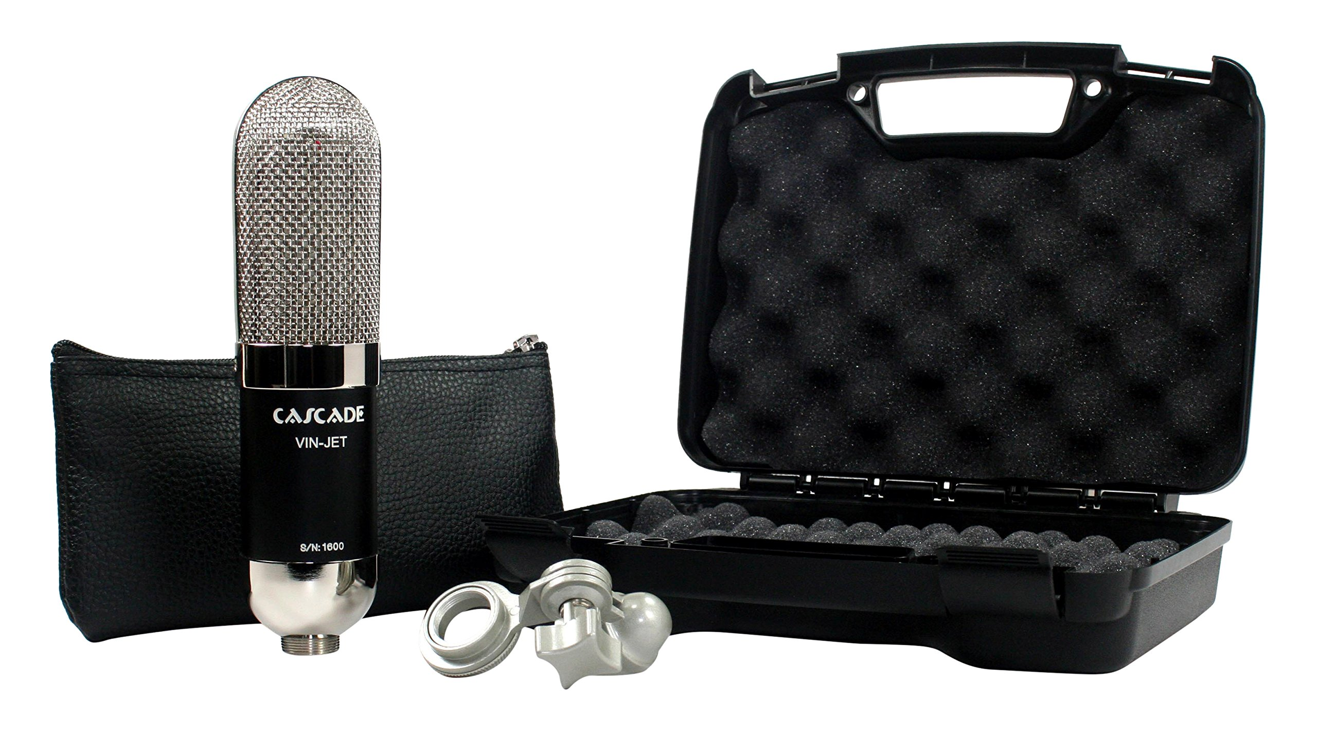 Cascade Microphones VIN-JET Lundahl - Black/Nickel Ribbon Microphone, Black Body/Polished Nickel Grill