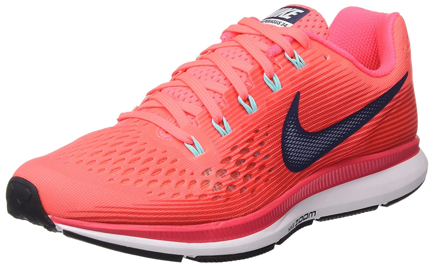 Nike Wmns Air Zoom Pegasus 34, Zapatillas de Running para Mujer 38 EU|Rosa (Hot Punch/Thunder Blue/Siren Red/Lt Aqua/White/Black)