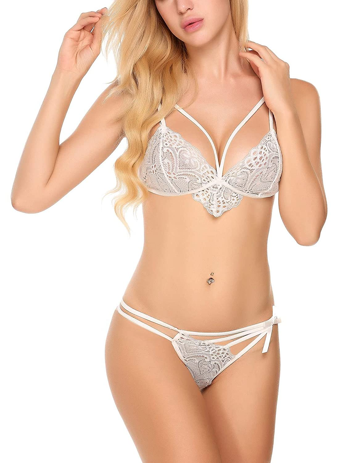 43e238cb3f0 Kissgal Women s Bridal Lingerie Strappy Lace Bra and Panty Babydoll  Bodysuit Sets at Amazon Women s Clothing store