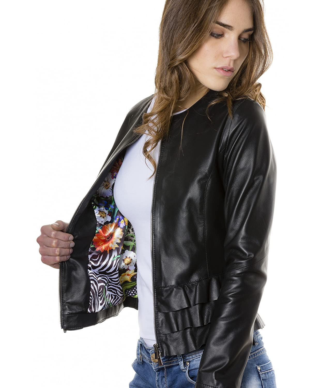 D'Arienzo - - - F105BL • Schwarze Farbe • Nappalederjacke mit Glatten Volants B06XVR7N97 Jacken Moderne und elegante Mode cc86b4